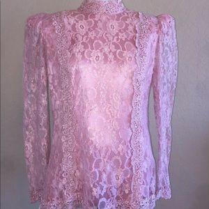 Vintage Pink Lace Button Back Top Blouse Shirt
